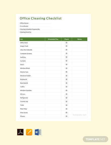 Free Office Cleaning Schedule Template