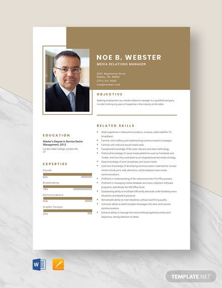 Media Relations Manager Resume Template