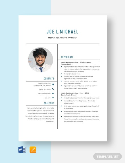 Media Relations Officer Resume Template