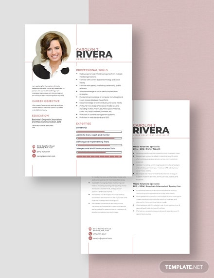 Media Relations Specialist Resume Download
