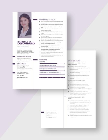 Media Sales Assistant Resume Download