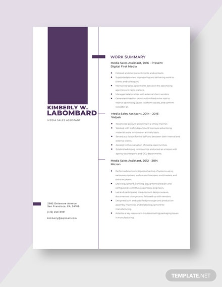 Media Sales Assistant Resume Template