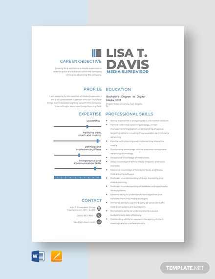 Media Supervisor Resume Template
