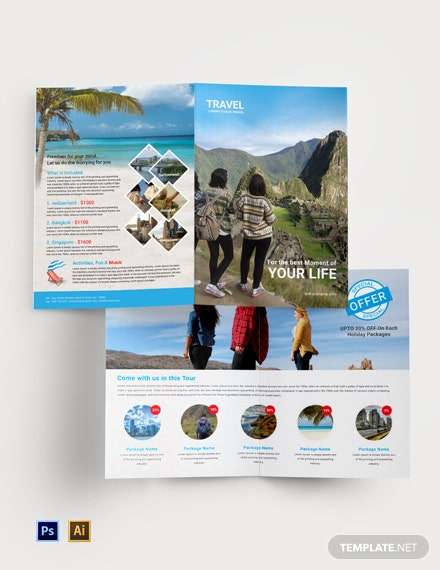 Free Travel Agency Bi-Fold Brochure Template
