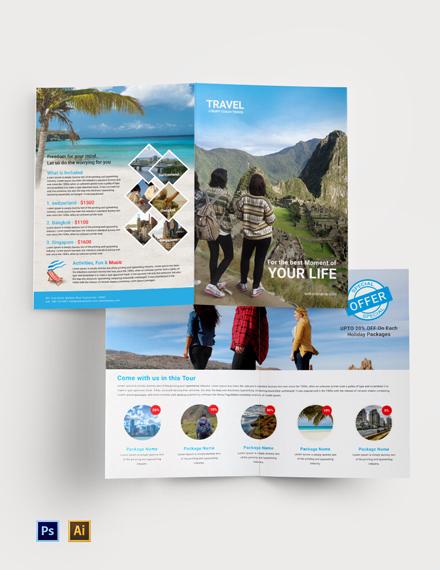 Free Travel Agency Bi-Fold Brochure Template