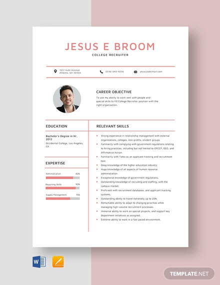 College Recruiter Resume Template