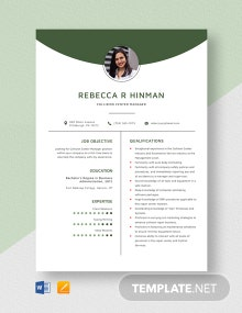 Collision Center Manager Resume Template