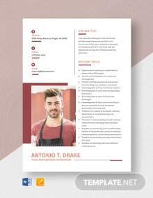 Food And Beverage Supervisor Resume Template