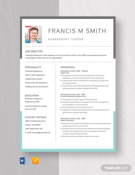 SharePoint Tester Resume Template
