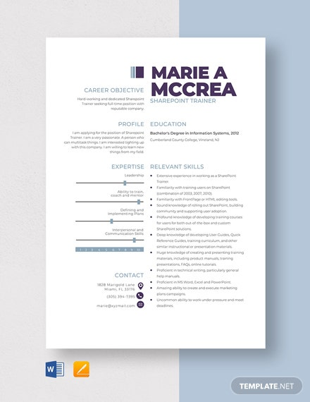 SharePoint Trainer Resume Template