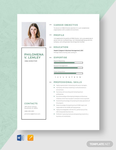 MBA Director Resume Template