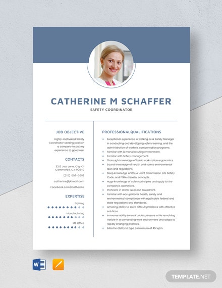 Safety Coordinator Resume Template