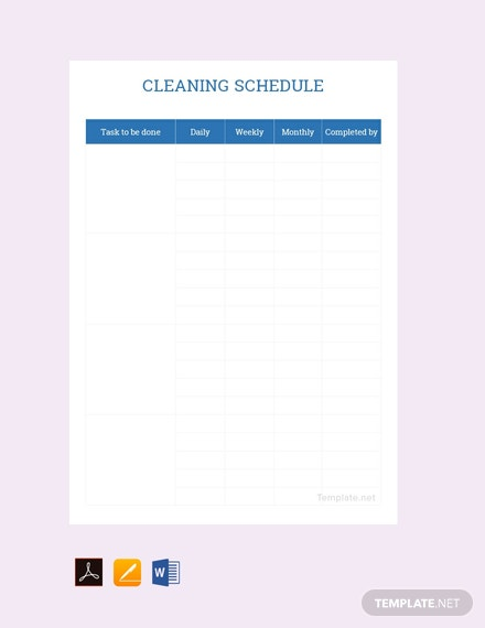 Free Sample Cleaning Schedule Template