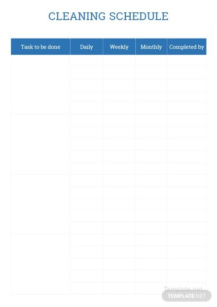 Sample Cleaning Schedule Template