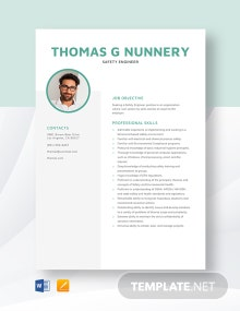 Safety Engineer Resume Template