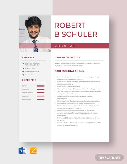 Safety Officer Resume Template