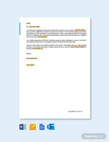 Free Financial Accountant Cover Letter Template