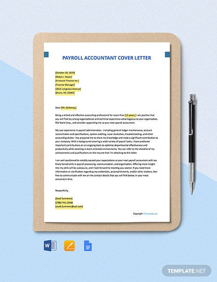 Free Payroll Accountant Cover Letter Template