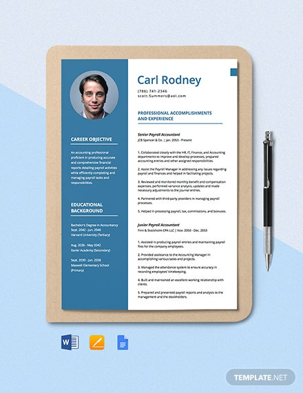 Payroll Accountant Resume Template