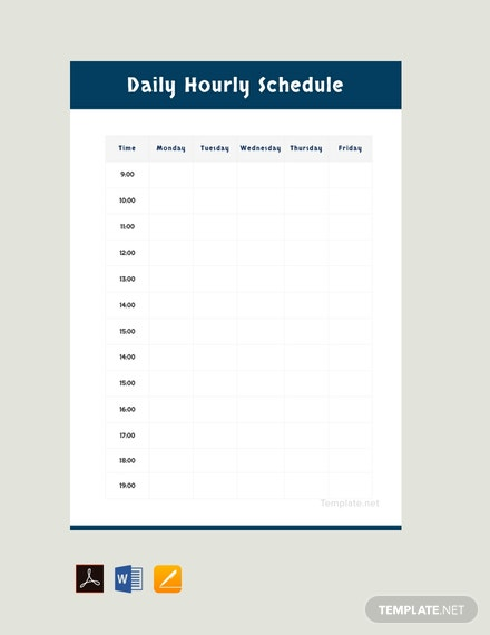 Free Daily Hourly Schedule Template