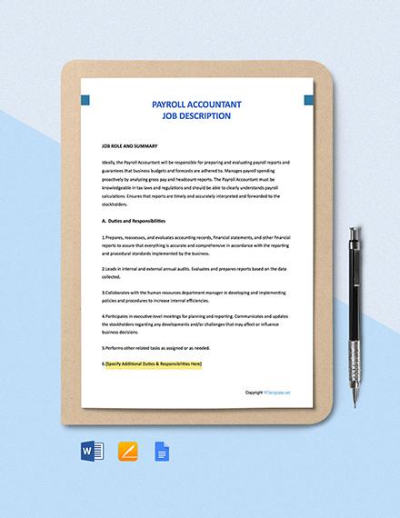 Free Payroll Accountant Job Description Template