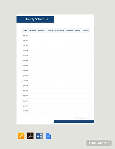 Free Sample Hourly Schedule Template