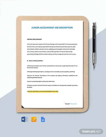 Free Junior Accountant Job Description Template