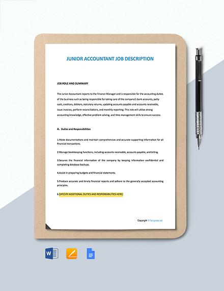 Free Junior Accountant Job Ad/Description Template