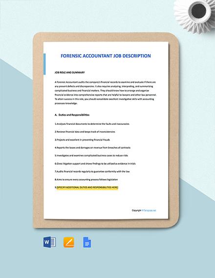 Free Forensic Accountant Job Ad/Description Template