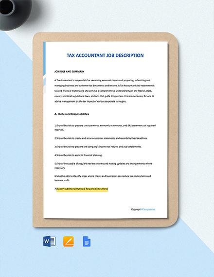 Tax Accountant Job Ad/Description Template