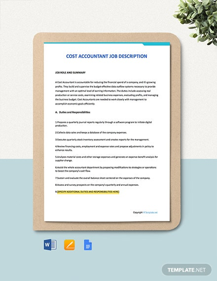 Free Cost Accountant Job Description Template