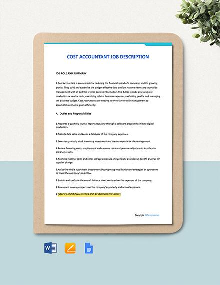 Free Cost Accountant Job Ad/Description Template
