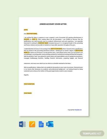 Free Junior Accountant Cover Letter Template