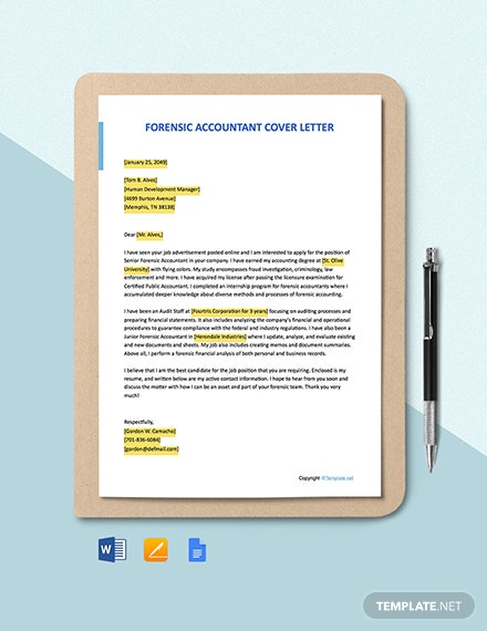 FREE Forensic Accountant Cover Letter - Word | Apple Pages ...