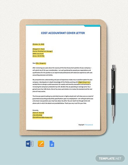 Free Cost Accountant Cover Letter Template