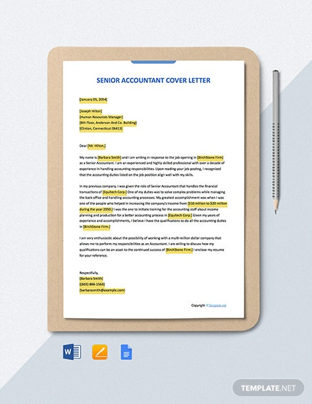 Free Senior Accountant Cover Letter Template