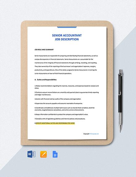 Free Senior Accountant Job Ad/Description Template