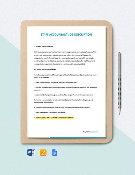 Free Staff Accountant Job Ad/Description Template