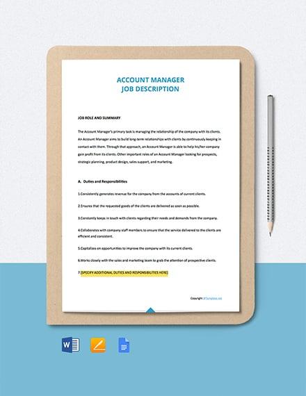 Free Account Manager Job Ad/Description Template
