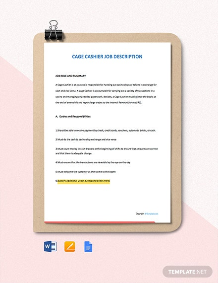 Free Cage Cashier Job Ad/Description Template