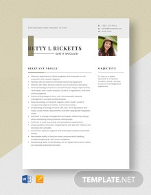 Safety Specialist Resume Template