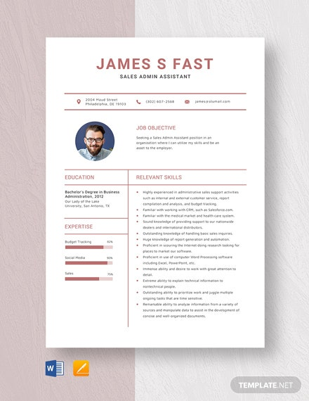 Sales Admin Assistant Resume Template