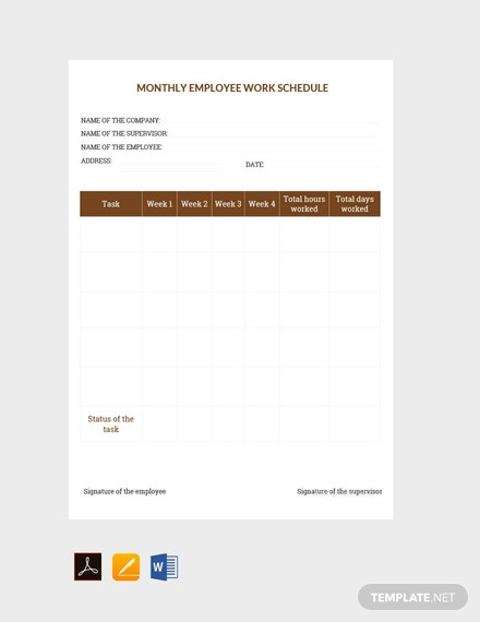 Free Sample Monthly Work Schedule Template