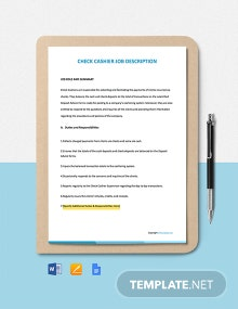 Free Check Cashier Job Description Template