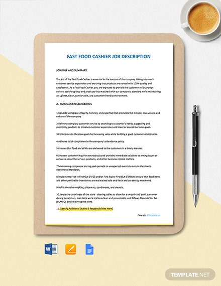 Free Fast Food Cashier Job Description Template