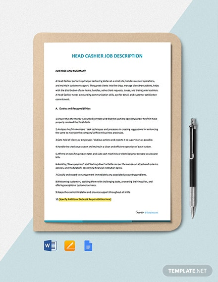 Free Head Cashier Job Ad/Description Template