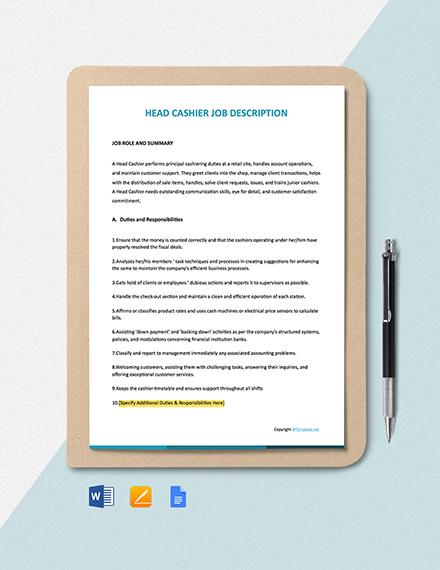 Free Head Cashier Job Ad/Description Template