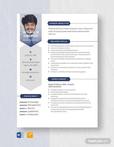 Media Producer Resume Template