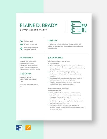 Server Administrator Resume Template