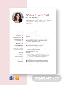 Server Assistant Resume Template